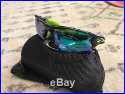 NEW OAKLEY Sunglasses FLAK 2.0 XL Black Ink/JADE Iridium POLARIZED Golf Cycling