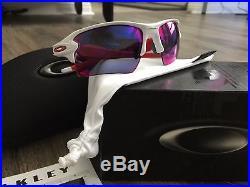 302c33fb448 NEW OAKLEY Sunglasses FLAK 2.0 XL White + RED Iridium TEAM COLOR Golf Radar