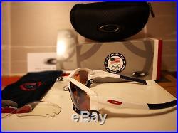 NEW OAKLEY TEAM USA JAWBONE Polished White / G30 IRIDIUM & Clear Vented 24-300