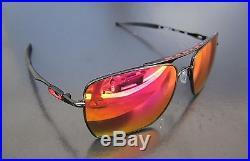 NEW Oakley Deviation Squared Aviator Sunglasses Polished Black / Ruby Iridium