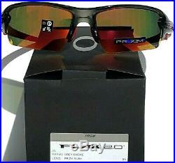 NEW Oakley FLAK 2.0 Grey Smoke w PRIZM RUBY Lens Sunglass 9271-30 Biking Golf