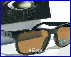 NEW! Oakley HOLBROOK Matte BLACK w POLARIZED Bronze GOLF Lens Sunglass 9102-98