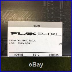 NWT Oakley Flak 2.0XL Polished Black Prizm Golf Lense Sunglasses 009188-05