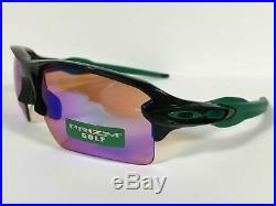 New OAKLEY FLAK 2.0 XL PRIZM GOLF Sunglasses OO9188-7059 POLISH BLACK/GREEN ARMS
