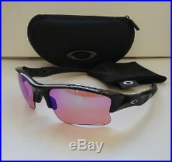 New OAKLEY FLAK JACKET 1.0 Polished Black with PRIZM Golf Lens Sunglasses radar ev
