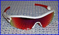 New Oakley 09-721J Men's Radar Path Golf Sunglasses Polished White/Red Iridium