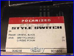 New Oakley Style Switch AF Crystal Black Grey Polarized Chrome Iridium OO9216-06