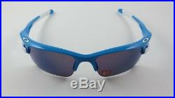 Oakley Fast Jacket Sky Blue G30 Iridium Polarized XL Asian Fit White Ear Golf