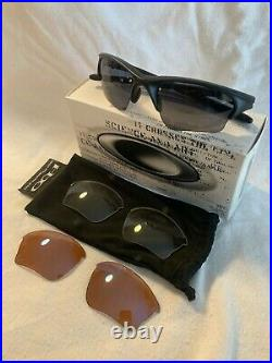 Oakley Half Jacket Sunglasses Black withGray G30 Clear XLJ Lenses Golf Shoot Array
